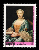 CUBA - CIRCA 1976: A stamp printed in the CUBA, shows Retrato de Mujer Louis Michel Van Loo, circa 1976 — Stock Photo