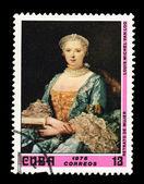CUBA - CIRCA 1976: A stamp printed in the CUBA, shows Retrato de Mujer Louis Michel Van Loo, circa 1976 — Stock Photo