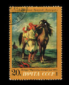 USSR - CIRCA 1972: A stamp printed in the USSR shows The state Hermitage Leningrad Delacroix Marokkanets saddling a horse, circa 1972 — Stock Photo
