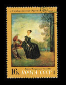 USSR - CIRCA 1972: A stamp printed in the USSR shows The state Hermitage Leningrad Vatto Capricious, circa 1972 — Stock Photo