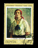 USSR - CIRCA 1972: A stamp printed in the USSR shows State Tretjakovsky gallery G.G.Rjazhsky Delegatka, circa 1972 — Stock Photo