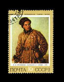 USSR - CIRCA 1972: A stamp printed in the USSR shows State Tretjakovsky gallery I.I.Strunnikov Guerrilla A.G.Lunev, circa 1972 — Stock Photo