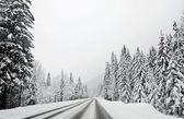 Winter mountain road, Austria, Kirhberg. Tirol — Stock Photo