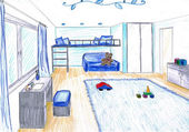 Graphical sketch of an interior apartment, color pancils — Stock Photo