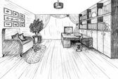 Graphical sketch of an interior apartment — Stock Photo