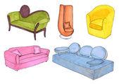 Muebles de bosquejo en el blanco — Foto de Stock