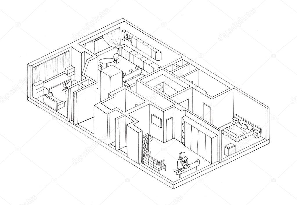 Skizze isometrie die wohnung plan liner stockfoto for Wohnung einrichten 3d planer