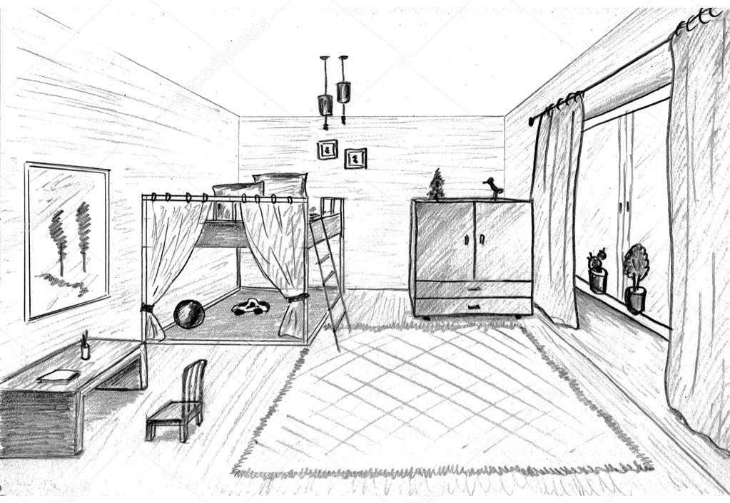 童房的室内图形素描-儿童房双层床
