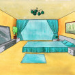 Stock Photo: Graphical sketch of interior bedroom, water color