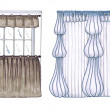 Graphic sketch, drapery, curtain, design markers — Photo