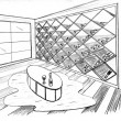 Stock Photo: Graphic sketch, premise for wine storage