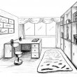 Stock Photo: Graphical sketch, private office