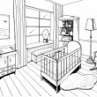 Graphical sketch of an interior childroom, liner — Stock Photo