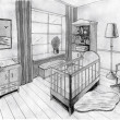 Stock Photo: Graphical sketch of an interior childroom, water color