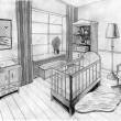 Stock Photo: Graphical sketch of interior childroom, water color