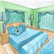 Graphical sketch of an interior bedroom, water color — Стоковая фотография