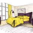 Stock Photo: Graphical sketch of interior bedroom