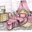 Stock Photo: Graphical sketch of interior child bedroom