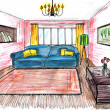 Graphic sketch,  living room — Foto Stock