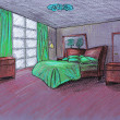 Stock Photo: Graphical sketch, bedroom, on color paper