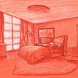 Stock Photo: Graphical sketch, bedroom, grisaille on color paper