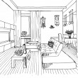 Graphic sketch, living room — Stock Photo