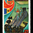 USSR - CIRCA 1981: A stamp printed in the USSR, shows international flights in space, circa 1981 — Stock Photo
