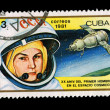 CUBA - CIRCA 1981: A stamp printed in the CUBA, shows XX ANIV DEL PRIMER HOMBRE EN EL ESPACIO COSMICO, circa 1981 — Stock Photo #28021513