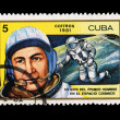 CUBA - CIRCA 1981: A stamp printed in the CUBA, shows XX ANIV DEL PRIMER HOMBRE EN EL ESPACIO COSMICO, circa 1981 — Stock Photo #28021579
