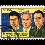 CUBA - CIRCA 1981: A stamp printed in the CUBA, shows XX ANIV DEL PRIMER HOMBRE EN EL ESPACIO COSMICO, circa 1981 — Stock Photo