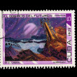 CUBA - CIRCA 1975: A stamp printed in the CUBA, shows A.Sokolov  EL Cosmos Del Futuroll,  circa 1975 — Stock Photo