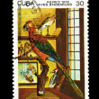CUBA - CIRCA 1980: A stamp printed in the CUBA, shows Aereo aves endemicas quacamato are tricolor,  circa 1980 — Stock Photo