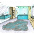 Stock Photo: Graphical sketch of interior bathroom