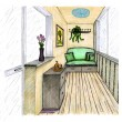 Stock Photo: Graphical sketch of interior balcony