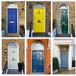 Stock Photo: Set of typical English doors