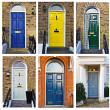 Set of typical English doors — Stock Photo