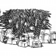 Graphical sketch Christmas tree and gifts under it — Stock Photo