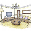 Graphical sketch of an interior living room — Stock Photo