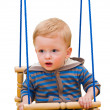 One-year-old kid on a rope swing, on the white — Stock Photo #28028699