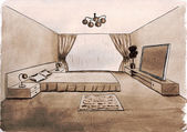 Graphical sketch of an interior bedroom, water color — Stock Photo
