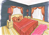 Graphical sketch of an interior bedroom, design markers — Stock Photo