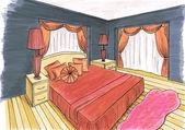 Bosquejo gráfico de un dormitorio de interior, diseño de marcadores — Foto de Stock