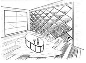 Graphic sketch, premise for wine storage — Stock Photo