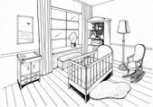 内部的 childroom,班轮图形剪影 — 图库照片