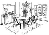 Graphic sketch, living room, liner — Stock Photo