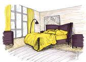 Grafische schets van een interieur slaapkamer — Stockfoto