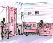 графический эскиз интерьера прихожая, холл — Стоковое фото