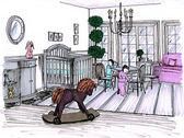 Dibujo gráfico de un childroom interior — Foto de Stock