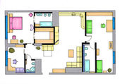 Furniture is on architect plan of the flat — Stock Photo