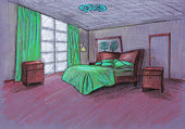 Graphical sketch, bedroom, on a color paper — Stock Photo